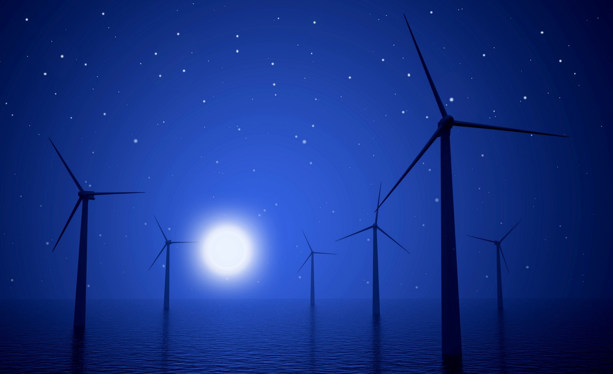 3d wind turbines producing energy in the sea at night