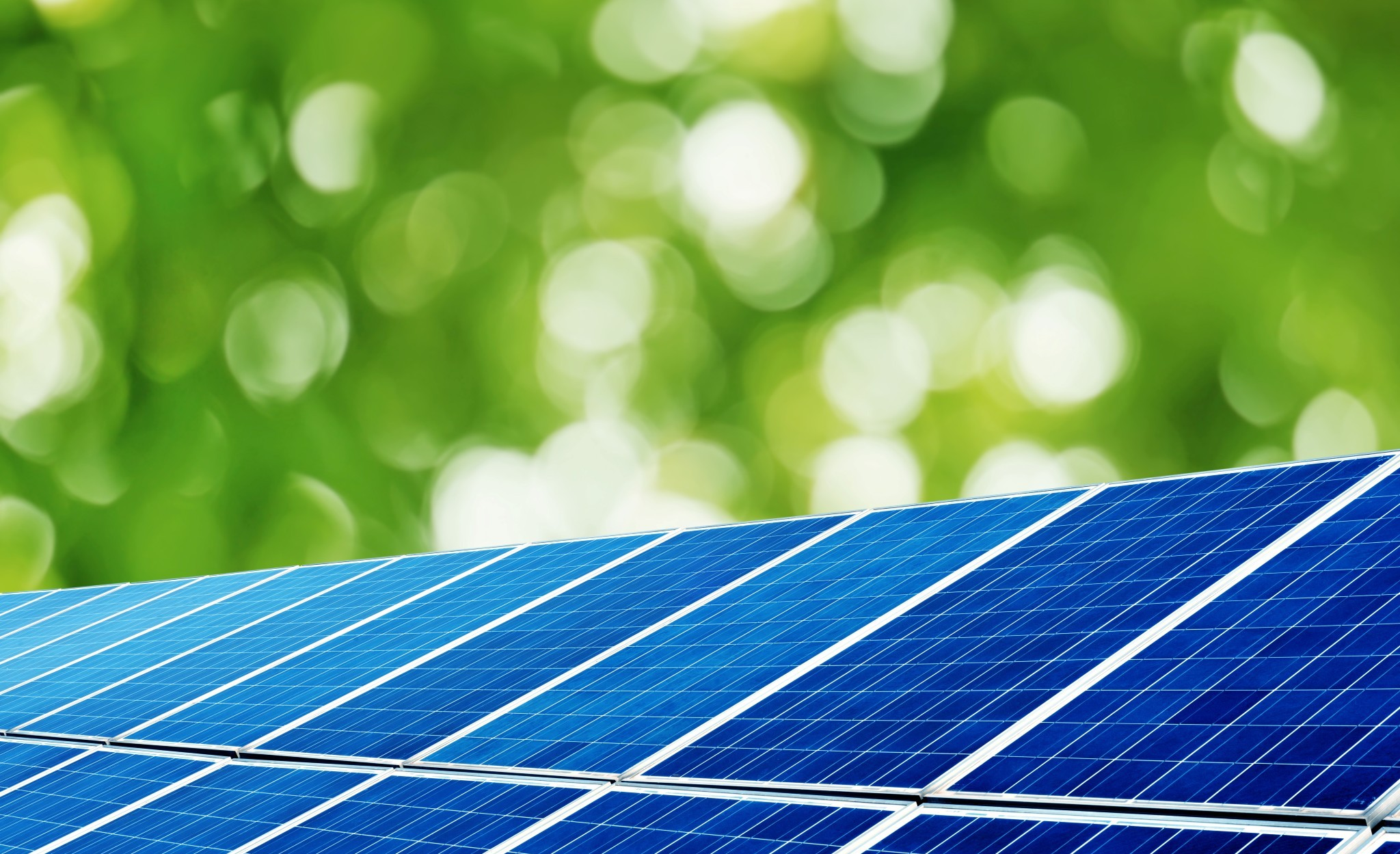 Solar panels under the trees background